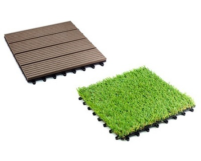 StreetDeal Home Decor Deal: 11-Piece Artificial wooden / Grass Tiles