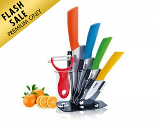 Ceramic Knife and Peeler Set with Stand